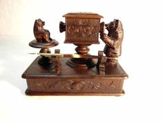 19th Century Figural Ink Well Bears - Unique!