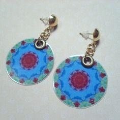 382 - boucles d'oreilles rondes - bleu, rose, vert