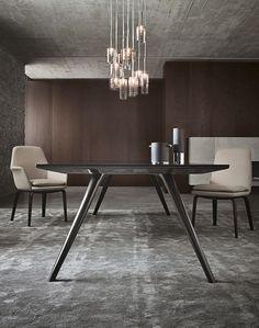 Mesa moderna / de madera / ovalada / redonda - EVANS - Minotti