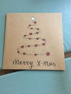 Love Heart Christmas Tree on brown paper