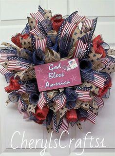 Patriotic Wreath,Memorial Day Wreath,July 4th Wreath,Labor Day Wreath,Americana Wreath,Patriotic Wall Decor by CherylsCrafts1 on Etsy