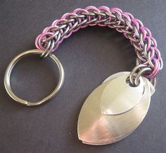 Chainmaille Keychain Stainless Steel and Pink by Lunachick on Etsy