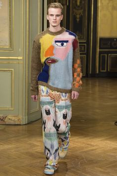 Abstract face sweater with cartoon pants - men's couture fashion #menswear #mensfashion #colorful #kitsch #abstract #cartoon #textile #textiledesign #print #pattern
