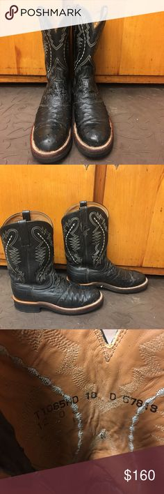 Lucchese 2000 black leather ostrich quill boots Men's black leather ostrich quill boots, 10 D.  They have had very little wear. Lucchese Shoes Cowboy & Western Boots
