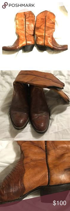 Genuine leather cowboy boots Genuine leather cowboy boots size 8.5 true to size. Dark orangey brown. Snake skin toe. Scuffed up but shouldn't need refurbishing other than a good clean and leather cleaner. Very comfy. Perfect for those stagecoach tickets you just bought. Shoes Heeled Boots