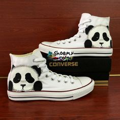 6297c2202037 Custom Converse All Star Hand Painted Panda High Top Canvas Sneakers