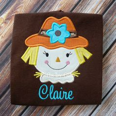 embroidered scarecrow girl shirt, thanksgiving shirt, fall shirt, personalized with name.