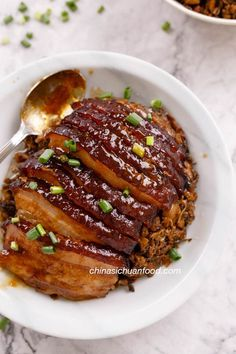 A generation passed Mei Cai Kou Rou recipe, steamed pork belly with preserved mustard green. Pork Belly Recipes, Meat Recipes, Wine Recipes, Asian Recipes, Cooking Recipes, Hawaiian Recipes, Cooking Food, Braised Pork Belly, Recipes
