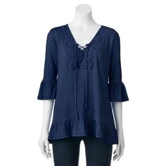Women's French Laundry Lace-Up Ruffle Top, Size: Medium, Blue Other