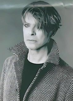David Bowie, black & white photo.