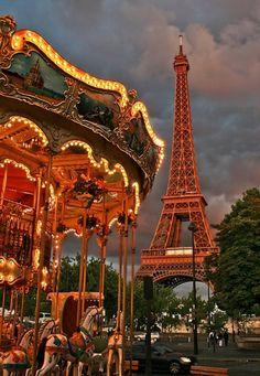 Eiffel Tower and carousel at dusk, Paris, France