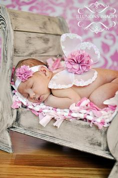 Baby Photo Prop Newborn Wings and Headband Set WHITE ANGEL Beaded Beauty by Violet's Velvet Box. $29.99, via Etsy.