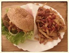 Auch Abends aß Stefan nicht daheim sondern im Vego. Der Hot-And-Cheese Burger mit Pommes war wohl richtig lecker und auch noch höllisch scharf.