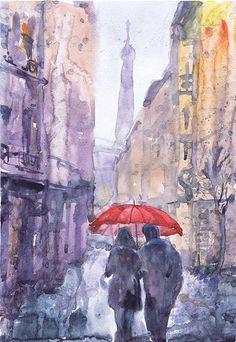 "Paris, #art, #watercolor #painting, #rain, #parisisalwaysagoodidea, #love, umbrella, eiffel tower, print, Illustration, bedroom decor, valrart ""#Paris is always a good idea"" high quality fine art print by Val RA"