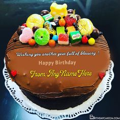 Sweetest Chocolate And Candy Birthday Cake With Name On It Birthday Cake Maker, Sweet Birthday Cake, Candy Birthday Cakes, Happy Birthday, Cake Templates, Cake Name, Cake Online, Cake Makers, Chocolate Decorations