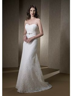 Sweetheart Neck Strapless A-Line Wedding Gowns With Button Lace Up Back