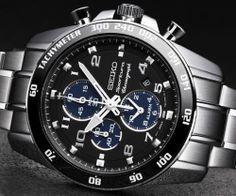 Seiko Mens Sportura Alarm Chronograph Watch SNAE63 SNAE63P1 | eBay