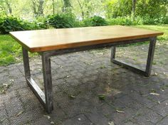 oak and metal table :: unfinished metal base