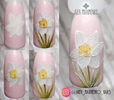 Best nails art step by step micropainting ideas Floral Nail Art, Acrylic Nail Art, Gel Nail Art, Acrylic Nail Designs, Nail Art Designs, Diy Nails, Cute Nails, Pretty Nails, Spring Nails