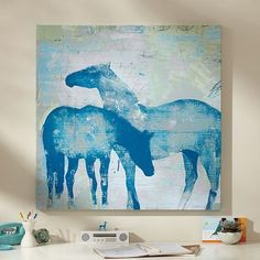 Pottery Barn Teen Horses Wall Art, x Painted Horses, Teen Wall Art, Horse Posters, Wall Posters, Horse Wall Art, Horse Artwork, Horse Paintings, Equestrian Decor, Ouvrages D'art