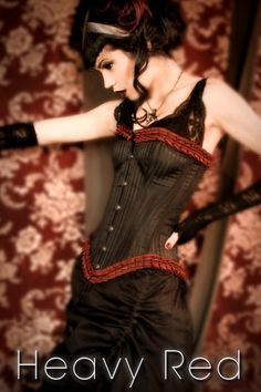 VICTORIAN FRENCH PLEATED STRIATION CORSET - @Imogene Parham Red