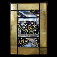 Edel Byrne Yellow Border Floral Stained Glass Panel, Artistic Artisan Designer Window Panels