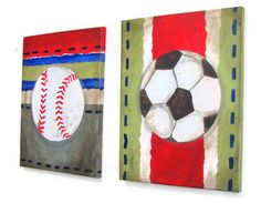 Paint a baseball canvas for nursery
