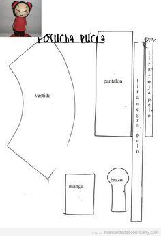 Plantilla Muneca Fofucha Pucca De Goma Eva
