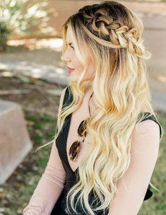 A Half Up Half Down Braided Hairstyles 2018 Long Blonde Hair
