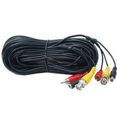 VideoSecu 50 Feet Power Video Audio CCTV Security Camera Cable Wire with Free BNC RCA Adapter 1JC