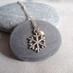 Snowflake necklace, silver christmas necklace from UK