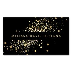 Faux Gold Confetti on Black Modern Business Card. This is a fully customizable business card and available on several paper types for your needs. You can upload your own image or use the image as is. Just click this template to get started!