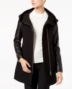 Calvin Klein Faux-Leather-Sleeve Jacket | macys.com