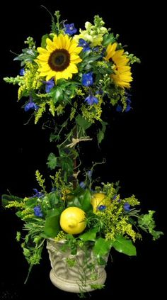 Provence  Topiary Blue & Yellow With Lemons  BEAUTIFUL  !!!!