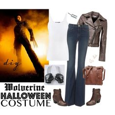 DIY Halloween Costume - Wolverine by selene-cinzia on Polyvore featuring Vince, Parker, Frame Denim, A2 by Aerosoles, Wolverine, halloweencostume and DIYHalloween