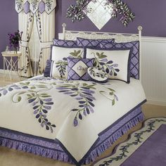 Wisteria Garden Quilt Bedding Set includes a quilt, bedskirt, and shams. Oversized, cotton Bed Quilt has a large floral applique of patterned fabric pieces. Quilt has a light cream background and backing; fill is polyester. Wisteria Garden, Purple Wisteria, Purple Rooms, Purple Bedroom Decor, King Quilt Sets, Quilted Bedspreads, Quilt Bedding, Bedroom Bed, Bedrooms