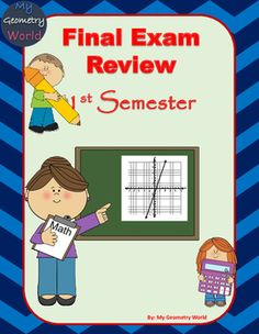 Algebra 1 Final Exam Review for the 1st semester.  The following topics are covered:  • Expressions, Equations, & Inequalities • Functions & Models • Linear Functions • Slope Intercept Form • Linear Equations • Linear Inequalities • Systems of Linear Equations