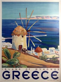 Choose your favorite mykonos paintings from millions of available designs. All mykonos paintings ship within 48 hours and include a money-back guarantee. Old Posters, Retro Poster, Vintage Travel Posters, Vintage Postcards, Beach Posters, Kunst Poster, Poster Art, Poster Prints, Art Prints