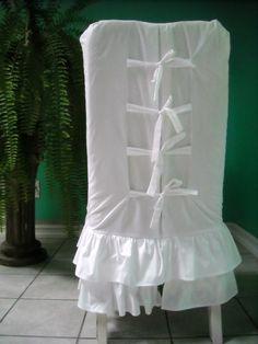 White Ruffled Chair Slipcover by PaulaAndErika on Etsy