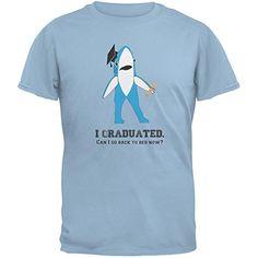 Graduation - Left Shark I Graduated Light Blue Adult T-Shirt - X-Large - Brought to you by Avarsha.com