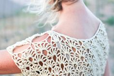 Boho crochet top with open shoulder keyholes made from cotton and bamboo yarn.