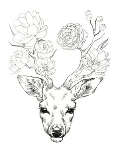 something slightly similar under the boobs. deer head on upper abs, antlers wrap…
