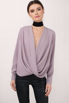 """Search """"Loveletter Mauve Chiffon Blouse"""" on Tobi.com! wrap front draped long sleeve dressy shirt light #ShopTobi #fashion shop buy cheap inexpensive ideas chic fashion style fashionable stylish comfy simple chic essential capsule Basic outfit simple easy trendy ideas for women teens cute college fall winter summer spring outfit outfits california LA"""