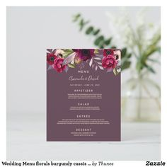 Shop Wedding Menu florals burgundy cassis purple created by Thunes. Wedding Menu Cards, Wedding Table Settings, Wedding Desserts, Dinner Menu, Deep Purple, Oysters, Florals, Reception, Burgundy
