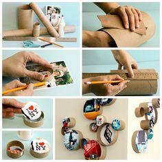 Make photo frames out of cardboard tubes.