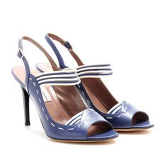 """JUNE LEATHER SLING-BACK PUMPS  - Tabitha Simmons Retro chic/modern day indulgence in this navy ivory peep toe silhouette. As elegant as they are cosmopolitan, understated stitching/dainty sling-back makes for a """"must have"""" for all of my style savvy girls...in NYC, Hamptons, Paris, Cote d'Azur...you get the idea ;) mytheresa.com is the place to go...quickly! Olga, pls chk b4 wearing when with me Pls! :) lol !"""