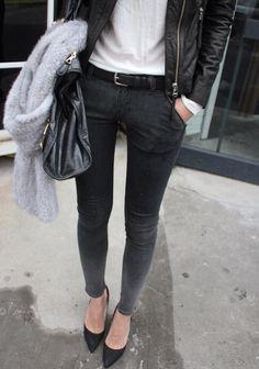 leather jacket + white T + belted black denim + pointy pumps