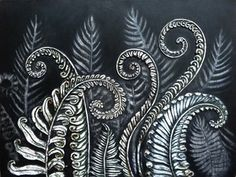 Ferns Unfurling Paper clay/Mixed Media on Canvas Art And Illustration, Illustrations, Botanical Illustration, Maori Art, Paperclay, Ink Art, Ferns, Art Inspo, Printmaking