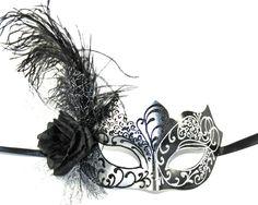 Black & Silver Masquerade Mask  Halloween by MadameMerrywidow, $40.00
