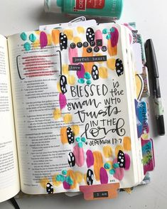 """""""""""But blessed is the man who trusts me, GOD, the woman who sticks with GOD. They're like trees replanted in Eden, putting down roots near… Bible Journaling For Beginners, Bible Study Journal, Journal Pages, Art Journaling, Journals, Bible Prayers, Bible Scriptures, Bible Quotes, Bible Drawing"""